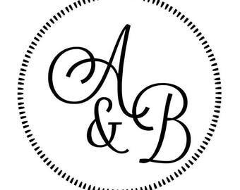 Custom Round Designer Inital / Monogram Wedding Embosser Shiny EZ-Seal - Custom Wedding - Custom Monogram Embosser