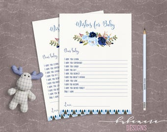 Blue Floral Baby Shower Wishes for Baby Game Boy Baby Digital Tribal Aztec Shower Trivia Cute Boy Printable Quiz Card Baby Game - CG008