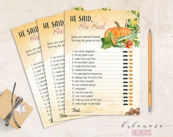 He Said She Said Bridal Shower Printable Game Fall Pumpkin Card Wedding Trivia Orange Floral Autumn Quiz Instant Download - BG006