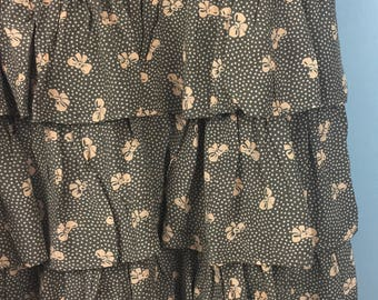 VINTAGE fantastic brown bows print frilled ruffled skirt XS UK 8/10 rara