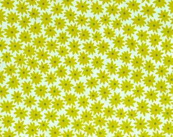 One Yard Cut - Flowers in Pickle - Pond by Elizabeth Hartman for Robert Kaufman -  Quilters Cotton - Fabric by the Yard