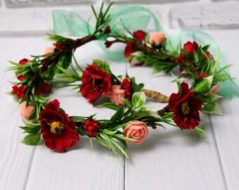Bride Green floral crown Bridal flower wreath Wedding halo Woodland wedding Greenery Wedding wreath bridal shower gift fairytale wedding