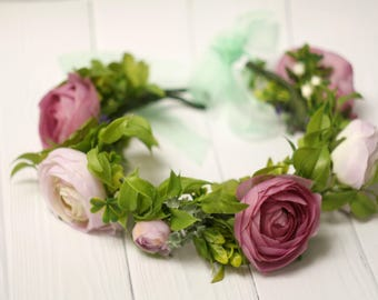Fairytale Gift Greenery flower crown  Hair flower wreath   Flower Crown Wedding Bridesmaid crown Bridal floral crown Flower headband  peony