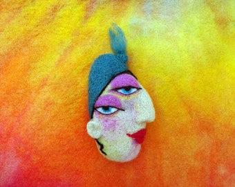 Needle felted brooch, collectible brooch, OOAK, needle felted face, fibre arts, felting, brooch, gift, Woolly Felters, Judy Balchin,