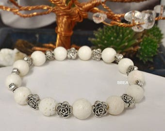 White coral bracelet, stone against arthritis and osteoarthritis, 8 mm beads and Tibetan Silver Flower beads