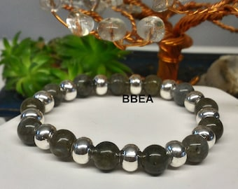 Pearls and Labradorite bracelet, 8 mm round silver color