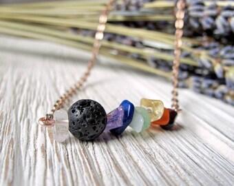 Minimalist Style Chakra Necklace, Essential Oil Diffuser Necklace, Lava Stone Jewelry, Diffuser Jewellery, Yoga,  by FoxAndBearEssentials