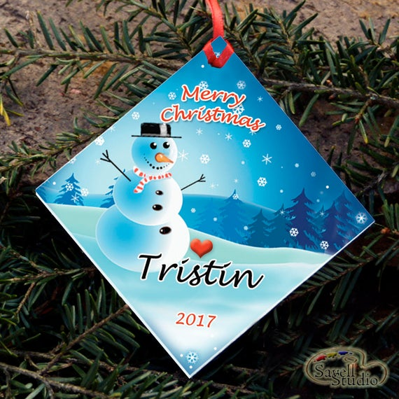 Personalized Christmas Ornament, Snowman, Name and Year, Christmas Tree Ornament, Snow Scene