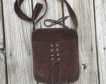Vintage Suede Leather  Shoulder Purse