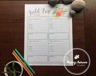 Printable Teacher / Parent / Homeschool Field Trip Planner Organizer - Tufted Titmouse Bird and Watercolor Roses