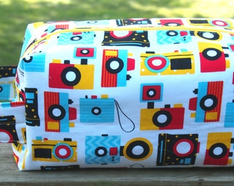 Camera Buff Knitting Project Bag    Rectangular Box Style