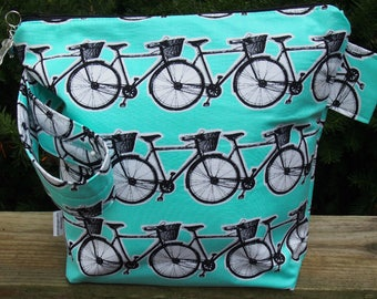 Bicycle Zippered Pouch Knitting Project Bag/ Pockets/ Measuring Tape