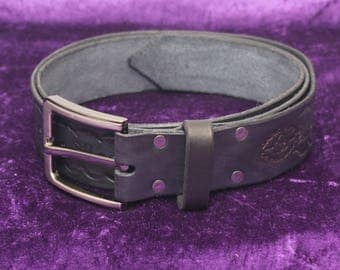 Black Leather Belt - hand Tooled
