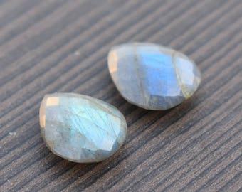 2 pcs Natural 15x12 mm Labradorite | Both Side Checker cut labradorite | Pear cut stone | Real stone manufacturer | Indian stone supply GS23