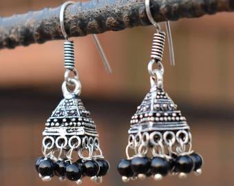 Black beads jhumka earrings   Ethnic banjara earrings   Tribal handmade earrings   Oxidized silver plated earring   Dangle earrings   E105