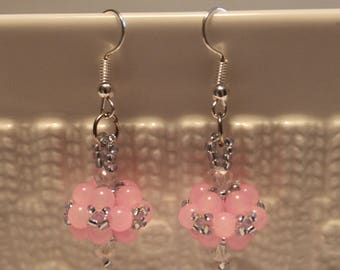 Cute Czech crystal-beaded earrings in pink; handmade, beadweaving, dangle & drop, beautiful, casual-wear, party-wear
