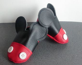 Soft leather slippers pattern Mickey