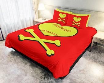 Softball heart crossbones - Softball, Softball Duvet, Kids bedding, Softball kids bedding . PM me for other colors available