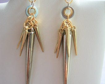 Dangle Earrings, Spiked Earrings, French Hook, Drop Earrings, Silver Tone Spikes, Gold Spikes, Fashion Jewelry, Two Toned Earrings, Hardware
