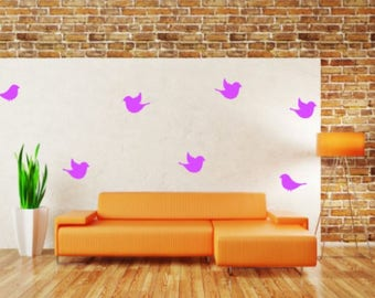Set of 7 Bird Wall Decals, Choose From Many Colours and Sizes