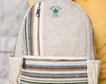 Small Mini Hemp Boho Backpack - Made in The Himalayas