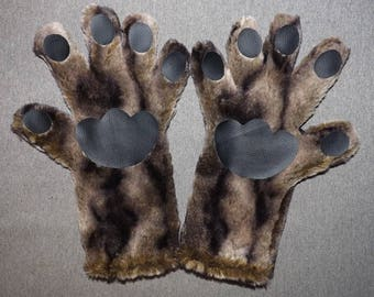 Safari Fur Winter Paws Gloves Mittens Handmade-Faux Fur-Cat Cosplay Costume Neko Furries-Dark Striped Inner Black- Anime