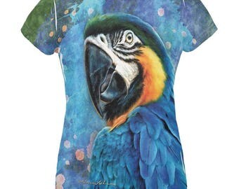 Exotic Blue Gold Macaw All Over Womens T Shirt