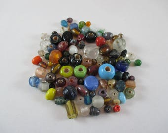 Assortment of glass beads, Different colors.