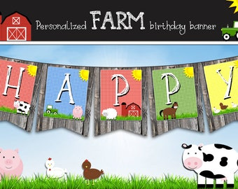Farm birthday banner - personalized with your child's name - digital / printable