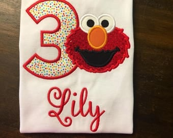 Elmo Birthday Shirt // Elmo Shirt // Girl Birthday Shirt // Monogrammed Birthday Shirt // Elmo 1st First 2nd Second Birthday