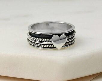 15% OFF Seren Spinning Ring, Spinner Ring, Anxiety Ring, Fidget Ring, Worry Ring, Meditation Ring, Fidget Jewelry, Silver Spinner, Nickel Fr