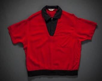 1950s Red Gaucho Style Pullover W/ Corduroy Trim Medium