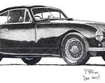 Art Print - Pen & Ink Drawing, A4 - 1950 Aston Martin DB2