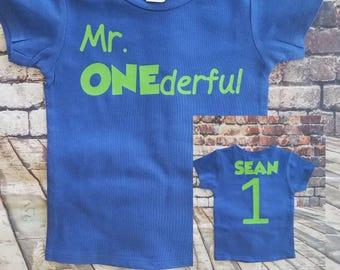 Mr. Onederful shirt, birthday shirt, personalized birthday shirt, jersey style shirt, boy's birthday shirt