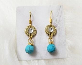 Bullet Earrings Turquoise Brass, 40 Caliber