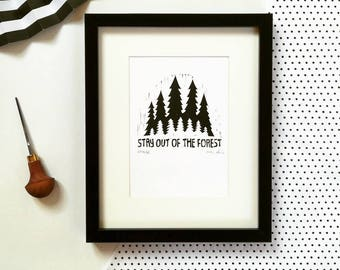 My Favorite Murder #2, original linocut print, stay out of the forest