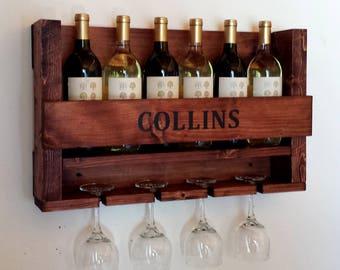 Wine Rack, Wine Rack Wall Mounted, Personalized Wine Rack, Rustic Wine Rack, Wedding Gift Wine Rack, Handmade Wine Rack, Wall Decor