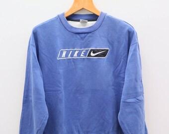 Vintage NIKE Big Logo Big Spell Sportswear Blue Sweater Sweatshirt Size M