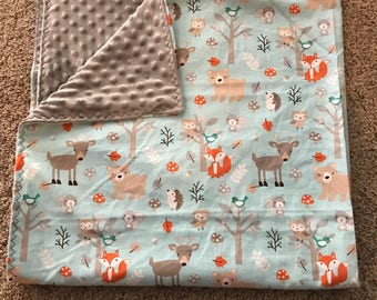 Woodland creature blanket baby/toddler size