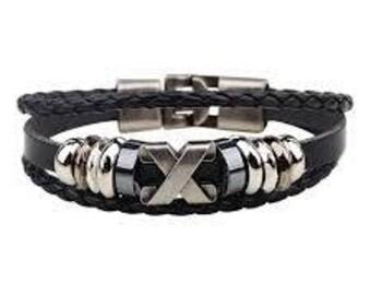 Black leather bracelet with silver X charm/Nice metal hook clasp/Multi strand leather bracelet/Braided leather charm bracelet  A-9