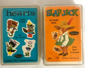 Slap Jack, Hearts, Vintage Card Set, Retro Card Set, Children's Card Set