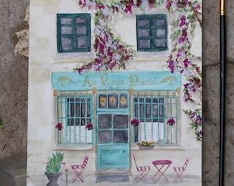 Original Watercolor of Parisian Cafe