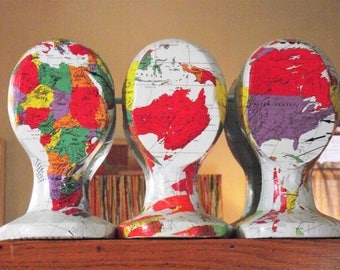3-D Head Sculpture World Map Art Well-Traveled Map theme gift for World Traveler mannequin head Travel theme gift bon voyage wedding gift