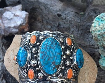 Marcella James Spider Web Turquoise & Spiny Oyster Shell Cuff Signed