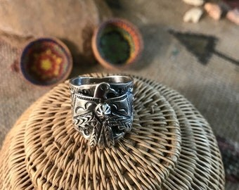 Sterling Silver Navajo Stamped Thunderbird Ring Sz 7 By Marcella James