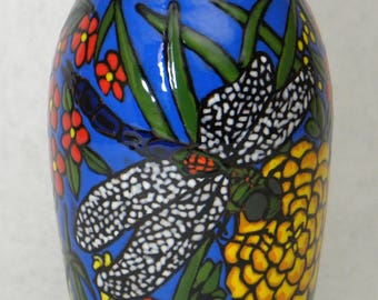 Dragonfly Vase with Red Flowers(Item#77)