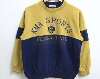 RARE!!! KMA Sports International Big Logo Embroidery Crew Neck Raglan Colour Sweatshirts Hip Hop Swag S Size