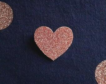 """Brooch """"little copper glitter heart"""""""