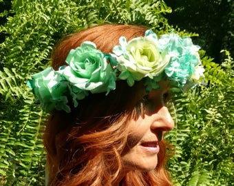 Flower Crown- Sea Green/blue & Light Green