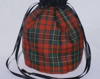 Highland Red Tartan Dolly Bag Purse Evening Handbag With Black Satin Ribbon